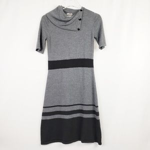 Merona Gray And Black Wool Sweater Dress, Medium